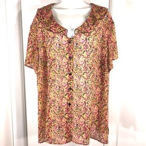 Vintage Shabby Chic Floral Top, Size 3X